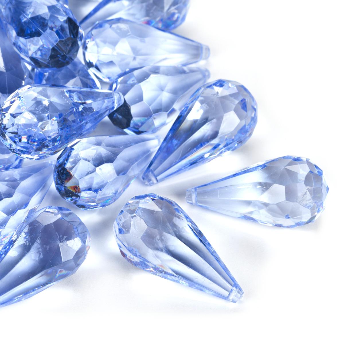 light blue acrylic teardrop diamonds decorative gems 3 cups