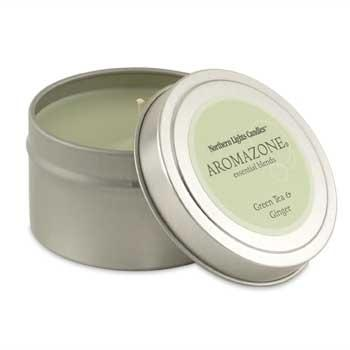 Aromazone Travel Candle Tin - Green Tea & Ginger- Aromatherapy Candle