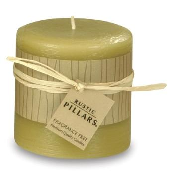 3 Inch Rustic Pillars Fragrance Free Unscented - Wheat