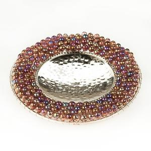 Chrome Pillar Candle Holder with Purple Glass Beads