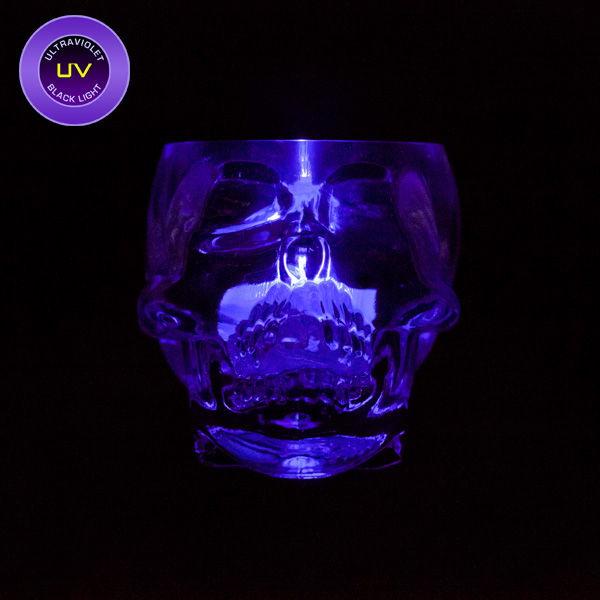 Mini skull glass with uv black light submersible single led
