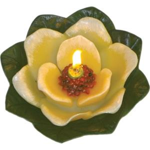 Floating Magnolia With Leaf Candle - Cream - Magnolia Flower Scented