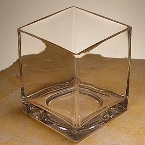 3.75X3.75X4.75 Clear Square Vase - Glass Container