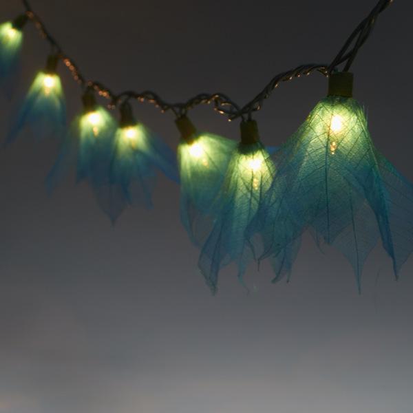 9Ft Tropical Flower Lights- 110V AC String Lights Teal - Green, Yellow