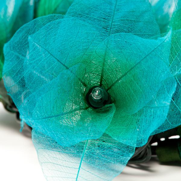 9Ft Tropical Flower Lights 110V AC String Teal