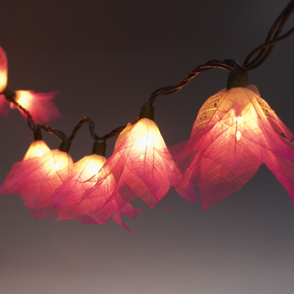 String Lights With Flowers : 9Ft Tropical Flower Lights- 110V AC String Lights Pink & Natural White