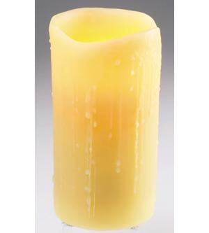 4X8 Unscented Resin Round Pillar Battery LED Candle- Cream Drip Finish