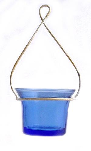 Hanging Metal Wire Tealight Lantern-White And Gold Hanger Blue Glass