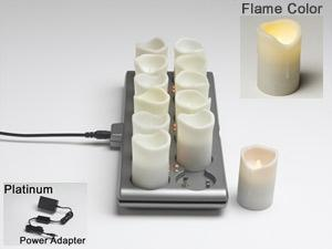 Platinum 12Pc Ivory Silicone Rechargeable Set - Flickering Candlelight