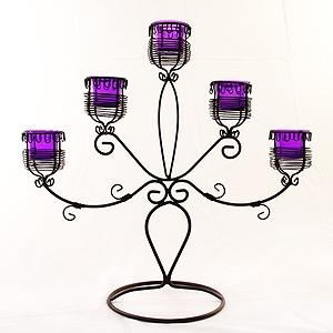Purple Lumiere 5 Basket Classic Candelabra - Wire Detail And Knots
