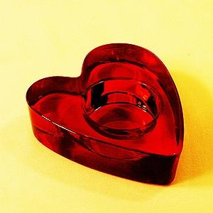 Thick Glass Heart Of Ruby Red Contains A Brilliant Tealight Flame