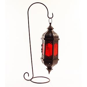 Hanging Moroccan Lantern Moorish Treya With Red Glass