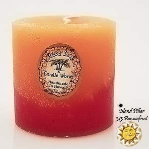 Short Beeswax Hawaiian Island Pillar Candle Scented Passionfruit