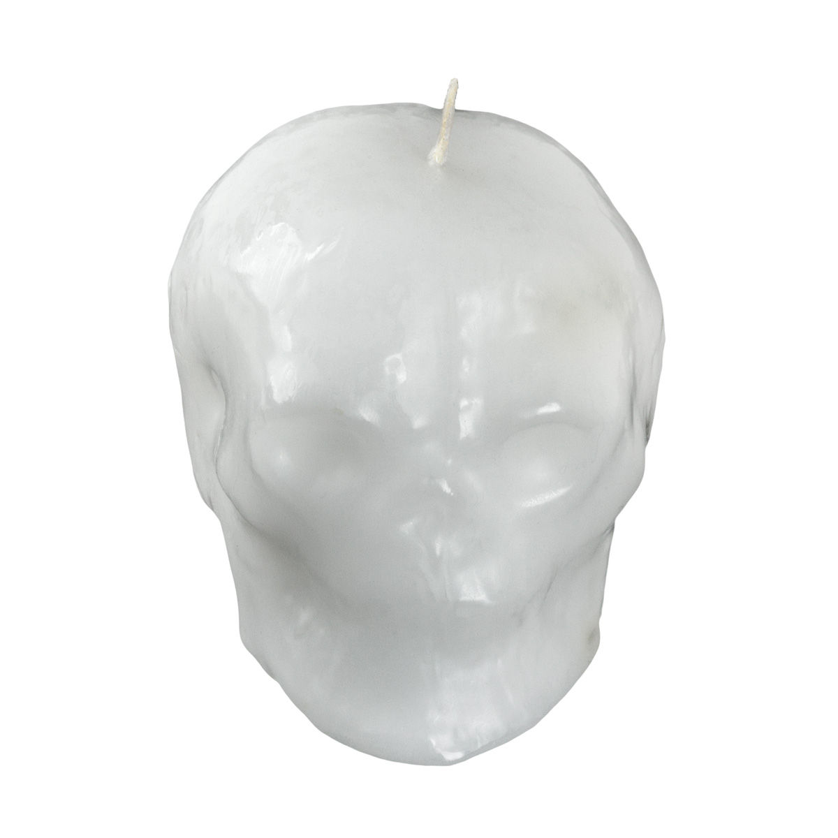 3 Inch Tall White Skull Candle Flat Sitter