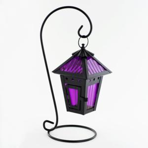 Hanging Mini Rough Roadhouse Purple Lantern Candle Holder With Stand