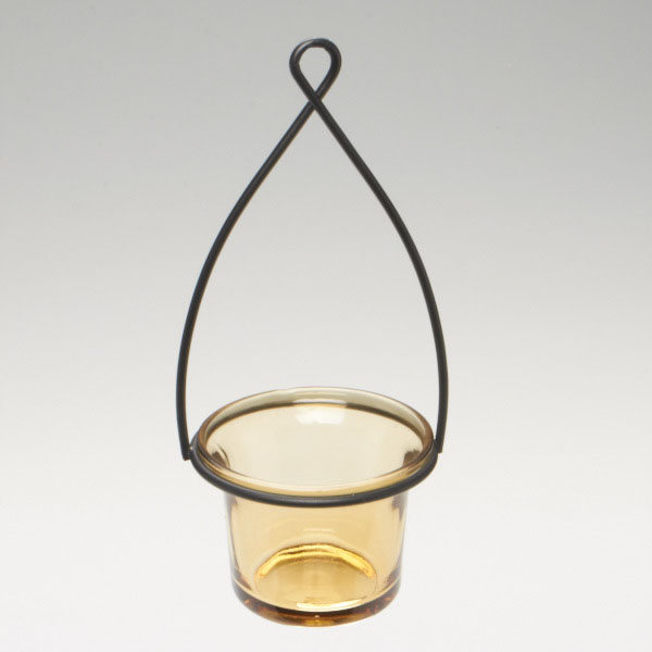 Hanging tealight lantern metal wire with flared glass for Wire candle lantern