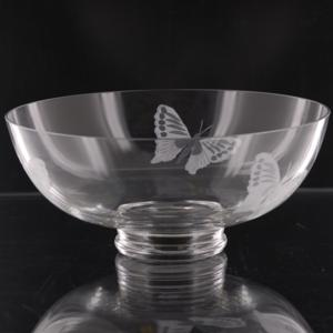 10 Inch Wide Mouth Butterfly Floater Bowl - Buttelfly Etched Into Bowl