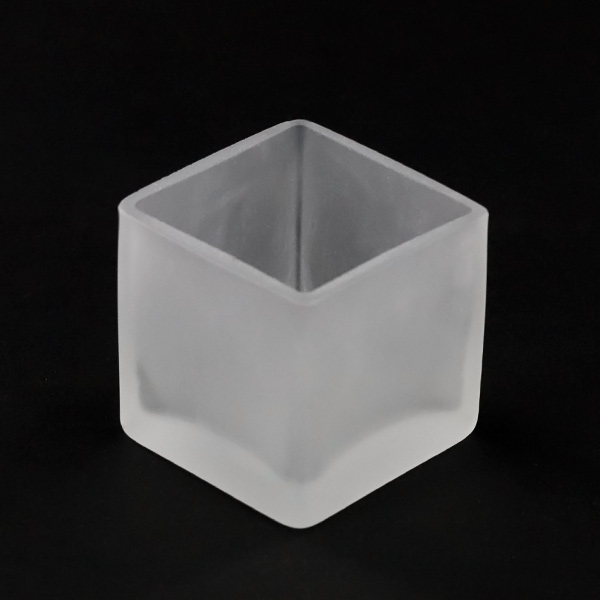 Square Tealight Frosted Glass Cup