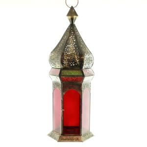 Moroccan Lantern Red Green Glass Bronze Color Paint