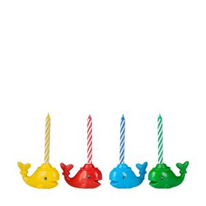 Four Birthday Candles In Whale Shaped Colored Holders