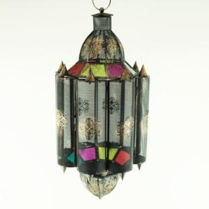 Hanging Moroccan Lantern Multicolored Glass Gold Black Metal