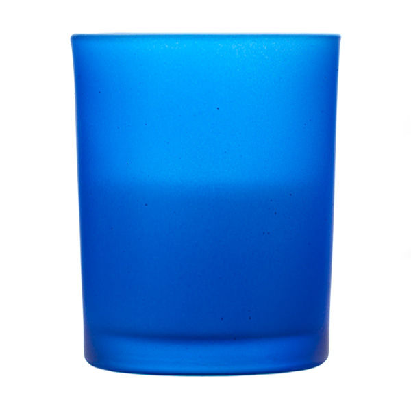 Votive In Frosted Blue Glass
