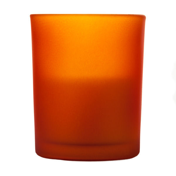 votive in frosted orange glass