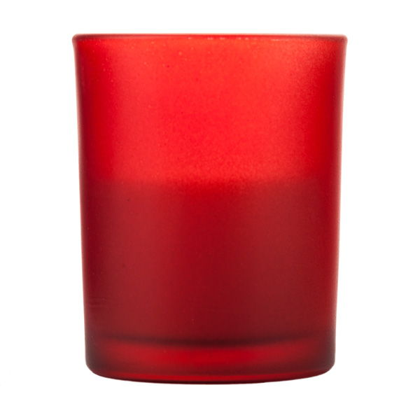 Votive In Frosted Red Glass